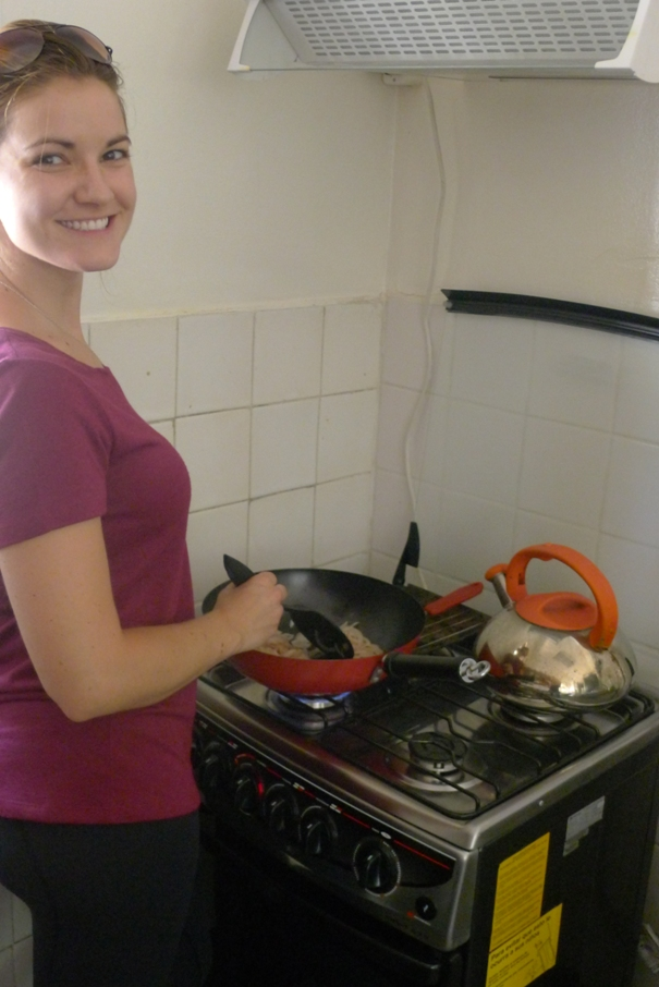Meg Cooking 10 Steps For Eating Healthy & Cheap at Hostels