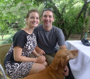 Relaxing in my sundress on a hot day in Buenos Aires with Tony and our pooch friend!