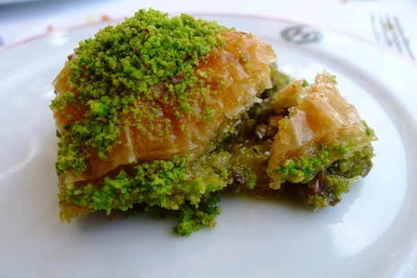 Baklava with clotted cream:
