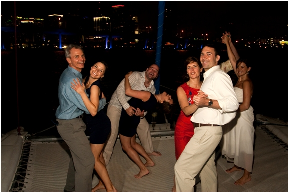 Dancing on the catamaran for our wedding