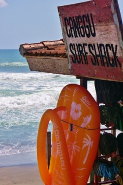 Surfing in Bali at 66 beach